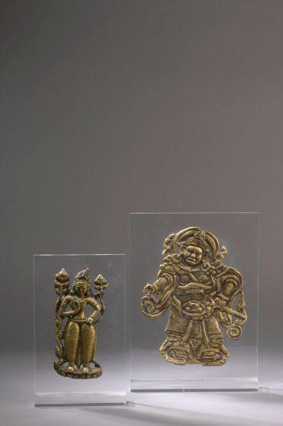TIBET - XVIIIe/XIXe siècle Deux plaques en...