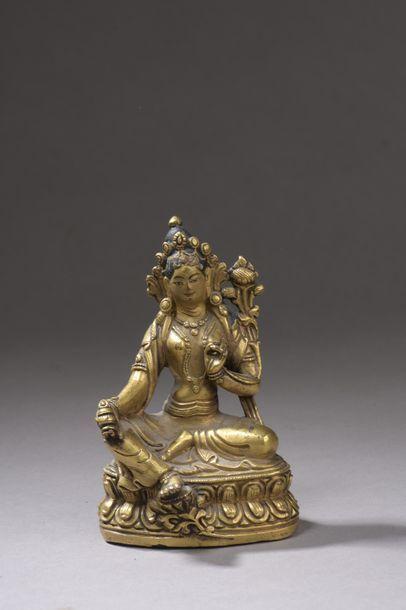 TIBET - XIXe siècle Statuette de Tara rouge...