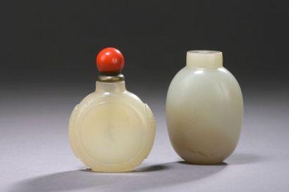 CHINE - XXe siècle Deux flacons tabatière...