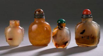 CHINE - XXe siècle Ensemble de quatre flacons...