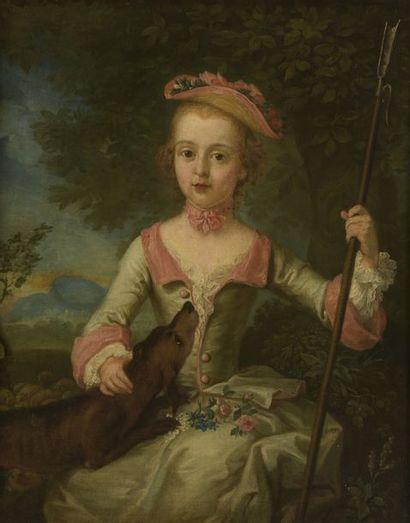 École FRANÇAISE, vers 1760 Jeune pèlerine...