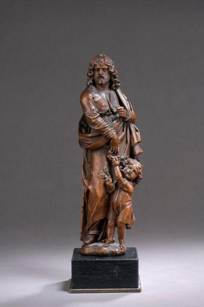 SAINT JOSEPH et l'Enfant Jésus en noyer sculpté...