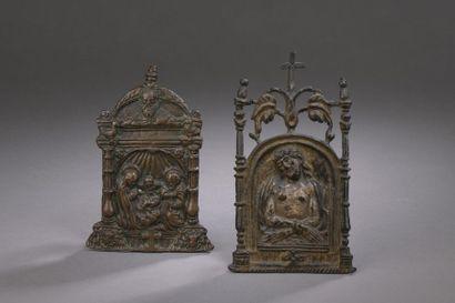 BAISER DE PAIX en bronze avec restes de dorure...