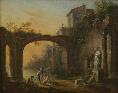 Jean-Baptiste LALLEMAND (circa 1710-1803) Bathers near a bridge The passage of the...