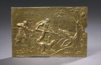 PLAQUE en métal doré représentant Méléagre...