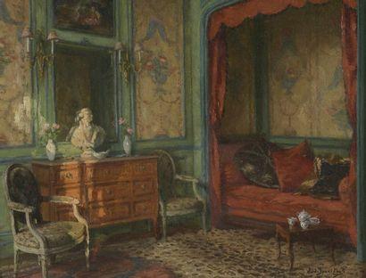 Léonce de JONCIÈRES (1871-1947) Le boudoir Intérieur à la commode Deux huiles sur...