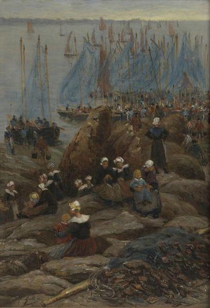 Alfred GUILLOU (1844-1926) Bretonnes à Concarneau Oil on panel Signed lower left...