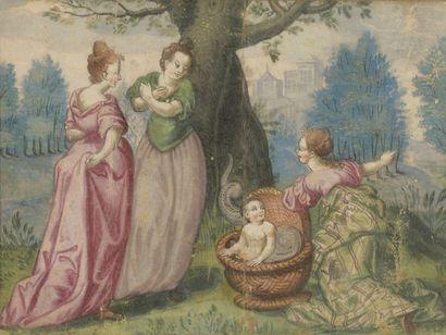École FRANÇAISE du XVIIe siècle Trois femmes,...