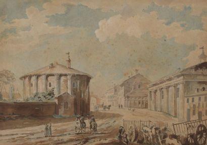 École FRANÇAISE du XVIIIe siècle Rome, le temple Rotondo & Rome, vue de la Place...