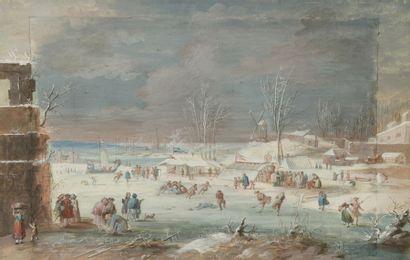 Abraham RADEMAKER (1677-1735) Scène de patinage...