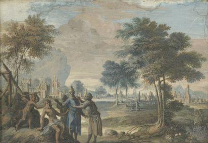 École FLAMANDE du XVIIIe siècle Paysage classique...