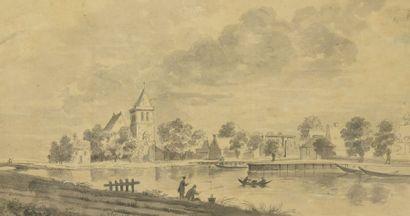 Claude-Henri WATELET (1718 - 1786) Paysage...