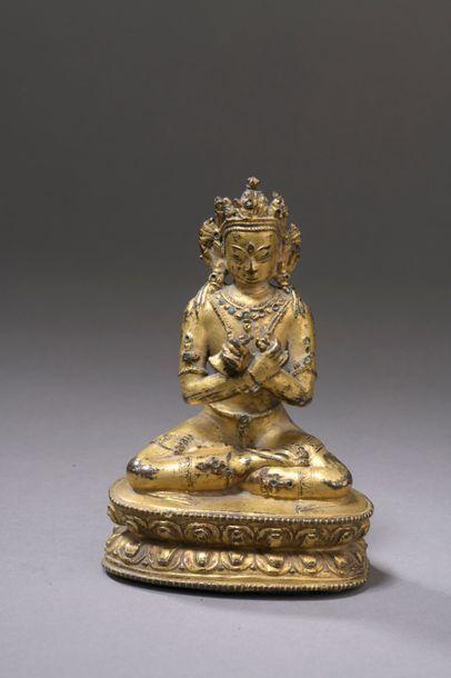 NÉPAL - XVIIIe siècle Statuette de Vajradhara...