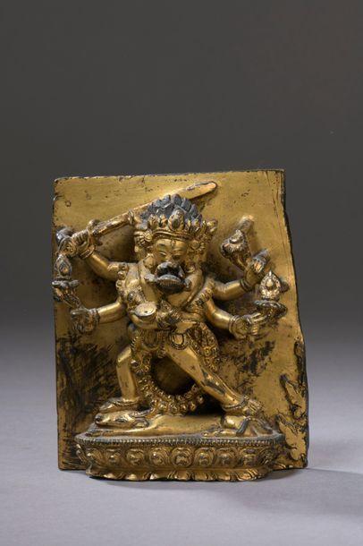 TIBET - XVe siècle Haut-relief en bronze...
