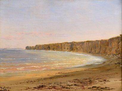 Théodore GUDIN (1802-1880) Falaises de la Côte d'Albâtre Huile sur papier marouflé...