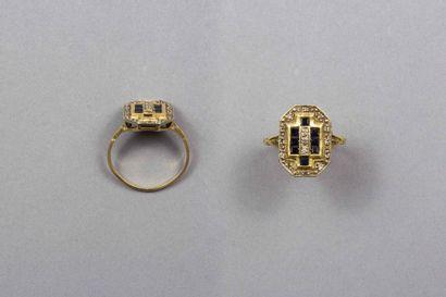 Bague en or jaune et or blanc 18k (750 millièmes),...