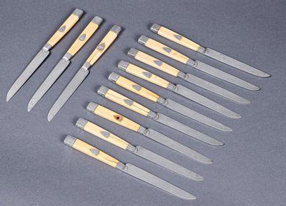 Suite de douze couteaux à fruits, les manches...
