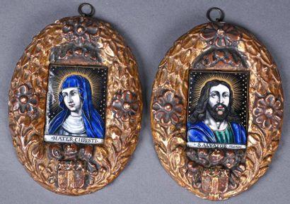 Deux émaux peints rectangulaires : Salvatore Mundi, Mater Christi, monogrammés I...