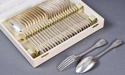Ménagère en argent modèle à filets et spatule...