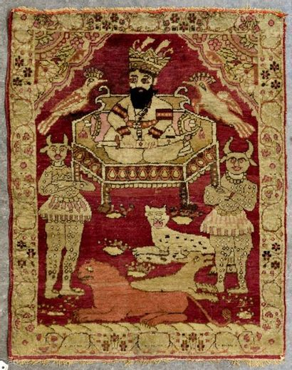 KIRMAN - PERSE Petit tapis en laine à décor...