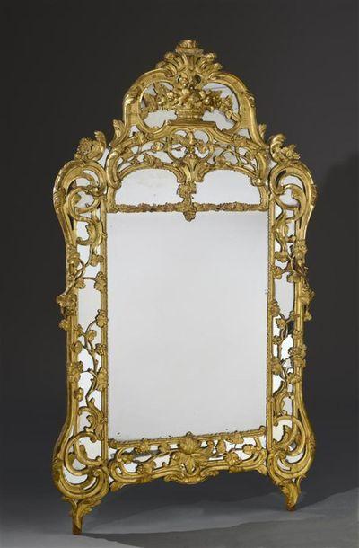 MIDI Grand miroir à parcloses en bois redoré...