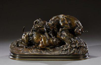 Pierre-Jules MÊNE (1810-1879) Chasse au lapin...