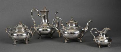 Service à thé et café balustre en argent...