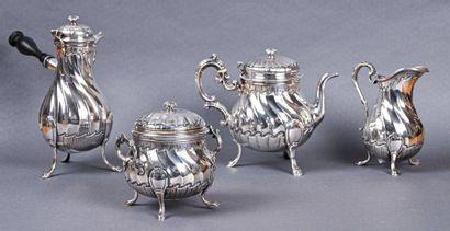 Service à thé et café en argent à côtes torses...