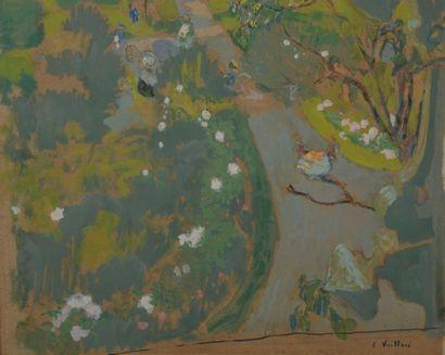 Édouard VUILLARD (1868-1940) Vue des Pavillons vers la mer, 1910 Glue painting on...
