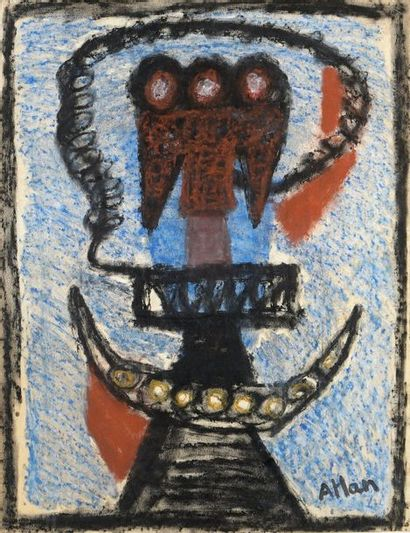Jean-Michel Atlan (1913-1960) Untitled, 1953 Pastel signed lower right. H. 65.5 cm...