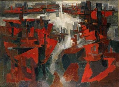 Pierre DMITRIENKO (1925-1974) Port de Rouen, 1954 Huile sur toile, signée et datée...