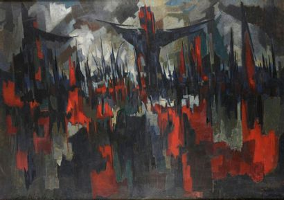 Pierre DMITRIENKO (1925-1974) Golgotha, 1954 Oil on canvas, signed and dated lower...