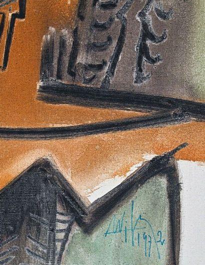 Wifredo LAM (1902-1982) Figure, 1972 Huile sur toile, signée et datée en bas au centre,...