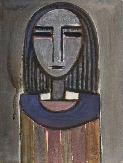 Wifredo LAM (1902-1982) Femme à la collerette bleue, circa 1939 Gouache. H. 58,5...