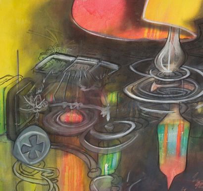 ROBERTO MATTA (1911-2002) Infraréalisme Oil on canvas, signed lower left. H. 200...