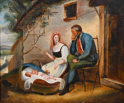 Ecole FRANCAISE du XIXe siècle Mère filant la laine Huile sur toile, traces de signature...