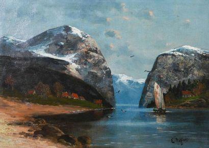 Wihelm HELFERT (1922-1991) Lac en montagne...