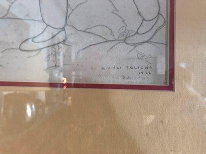 Agapit VIDAL-SALICHS (XIX-XXème) Famille de paysan plantant un arbre Dessin au crayon...