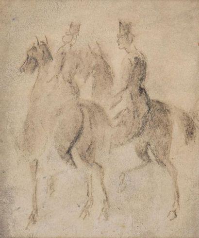 Constantin GUYS (1802-1892) Cavaliers Plume et encre noire H. 17 cm - L. 14 cm (à...