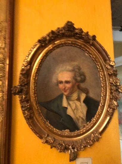 Ecole Française du XIXe siècle Portrait d'homme et Portrait de femme faisant pendant...