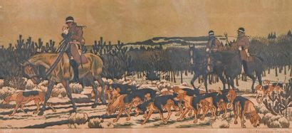 Maurice TAQUOY (1878-1952) Chasse à courre...