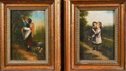 Ecole FRANCAISE du XIXe siècle Jeunes enfants Paire d'huiles sur panneau, signées...