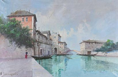 Aldo MARANGONI (XIX-XX) Venise Huile sur...