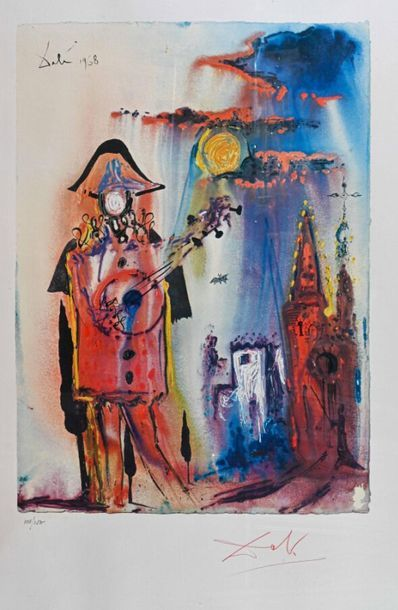 Salvador DALI (1904-1989) Pierrot Lithographie,...