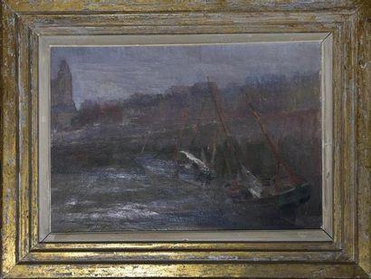 Henri BURON (1880-1969) Bateaux à marée basse...
