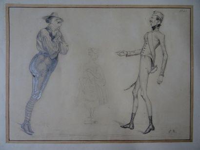 Ecole française du XIXe siècle Caricatures d'un officier Crayon, d'après une gravure,...