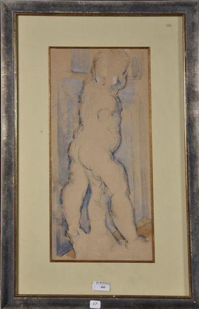 Ecole FRANCAISE du XIXe siècle Etude d'une sculpture d'enfant Crayon et rehaut d'aquarelle...
