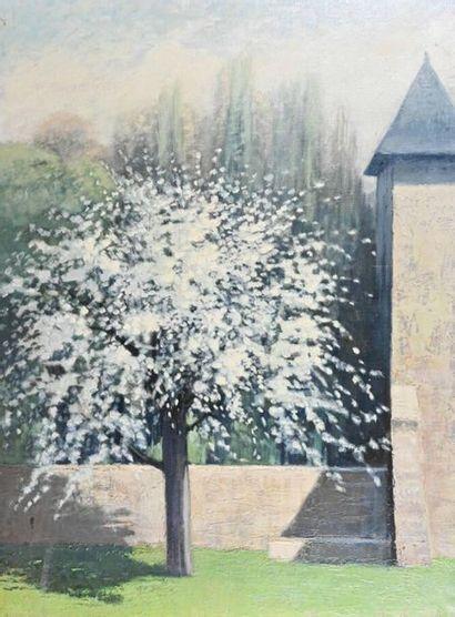 Pierre LAROCHE (1893-1982) Le cerisier en fleur Huile sur toile, signée et datée...