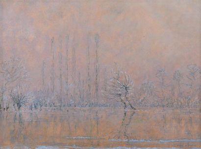 José MINGRET (1880-1969) Paysage d'hiver ; Coucher de soleil Paire de gouaches sur...