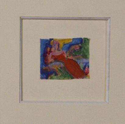 Marius MERMILLON (1890-1958) Femme assise à la robe rouge Aquarelle gouachée H....